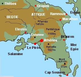 Les sites archéologiques de l'Attique et d'Athènes: carte interactive